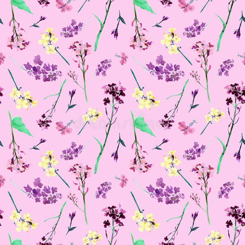 Hand drawn watercolor seamless pattern with meadow small red and yellow flowers and herbs on pink background royalty free illustration
