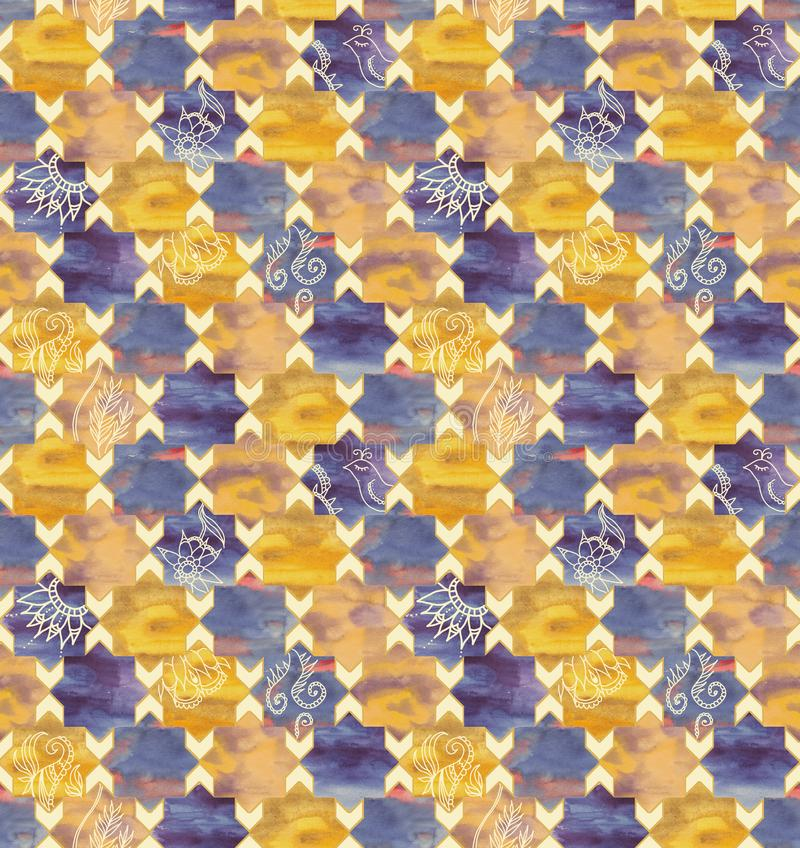 Hand-drawn watercolor seamless pattern in Moroccan style royalty free stock image
