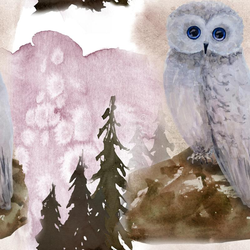 Hand drawn watercolor seamless pattern with owl in forest. Hand drawn watercolor seamless pattern in forest royalty free illustration