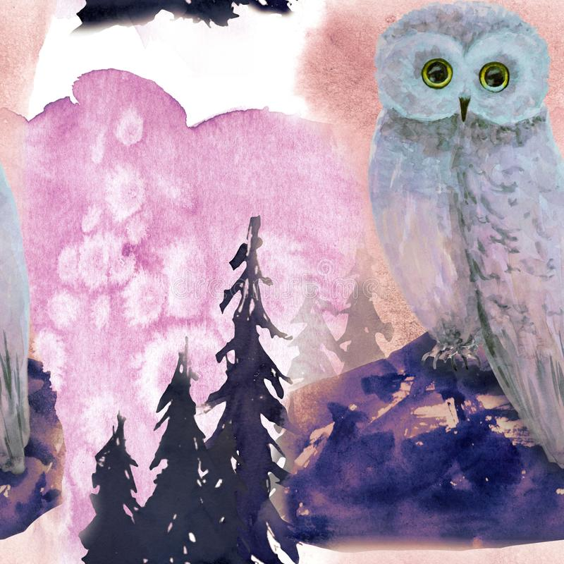 Hand drawn watercolor seamless pattern with owl in forest. Hand drawn watercolor seamless pattern in forest stock illustration