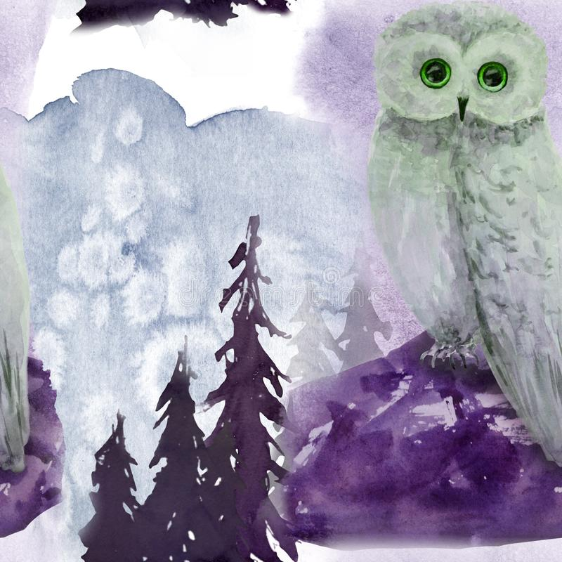 Hand drawn watercolor seamless pattern with owl in forest. Hand drawn watercolor seamless pattern in forest vector illustration