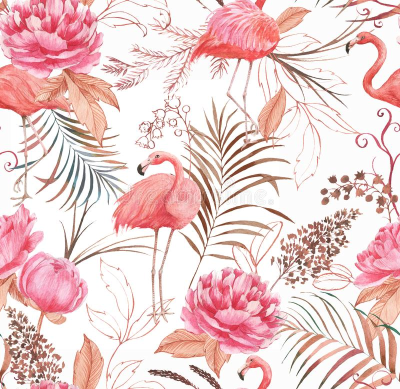 Hand drawn watercolor seamless pattern with pink flamingo, peony and decorative plants. Repeat background illustration royalty free stock photo
