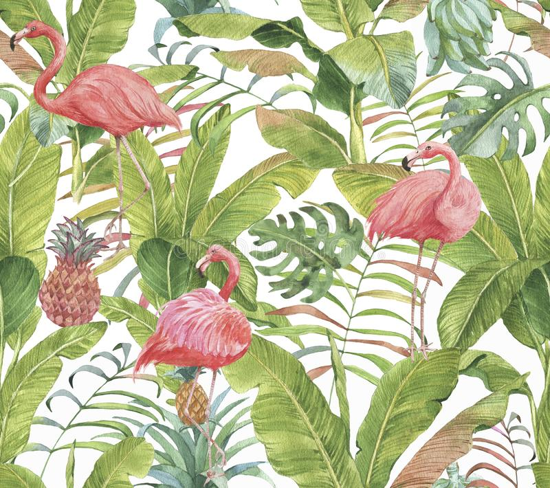 Hand drawn watercolor seamless pattern with pink flamingo, pineapple and exotic plants. Repeat background illustration royalty free stock images