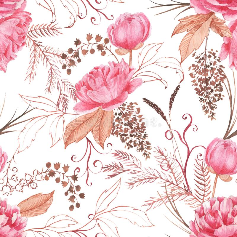 Hand drawn watercolor seamless pattern with pink peony and decorative plants. Repeat background illustration royalty free stock images