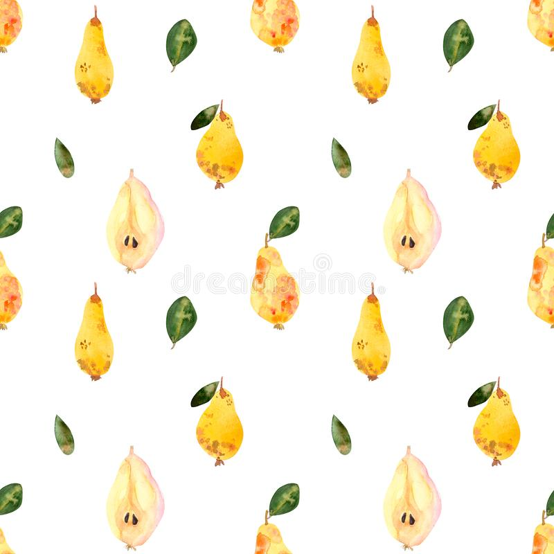 Watercolor seamless pattern pears, white background royalty free illustration