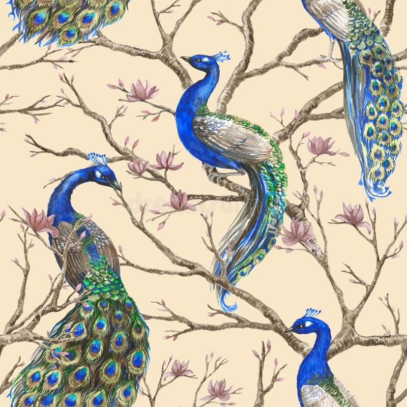 Hand drawn watercolor seamless pattern with wild peacocks and magnolia floral branches vector illustration