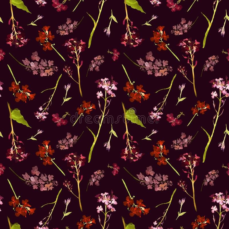 Free Hand Drawn Watercolor Seamless Pattern With Field Pink And Red Small Flowers And Herbs On A Dark Wine-colored Background Stock Photos - 140312253