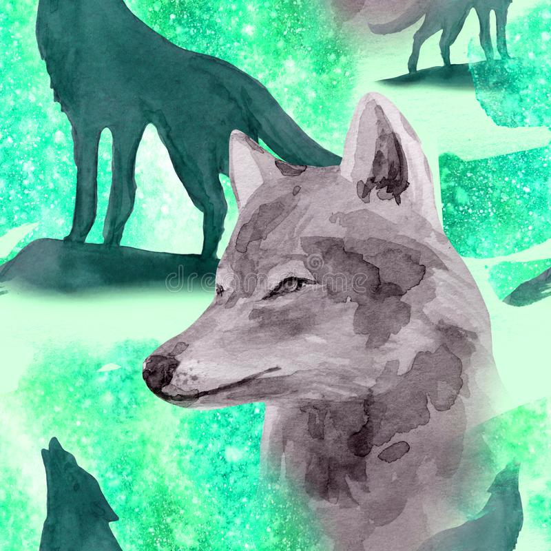 Hand drawn watercolor seamless pattern wolf in night forest. Hand drawn watercolor seamless pattern with wolf in forest royalty free illustration