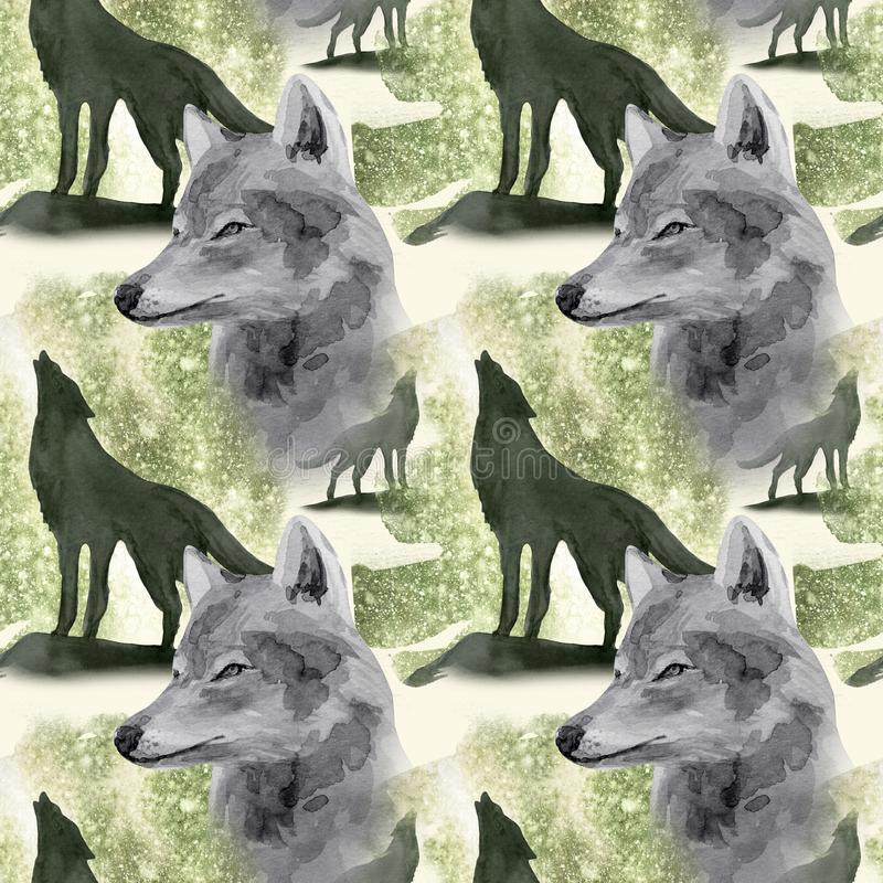 Hand drawn watercolor seamless pattern wolf in night forest. Hand drawn watercolor seamless pattern with wolf in forest stock illustration