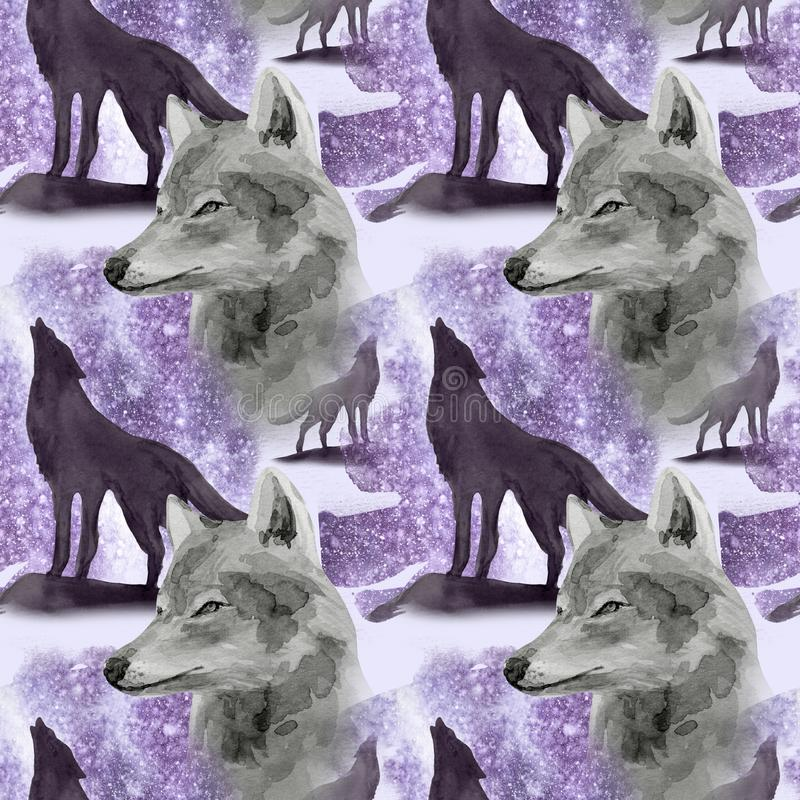 Hand drawn watercolor seamless pattern wolf in night forest. Hand drawn watercolor seamless pattern with wolf in forest vector illustration