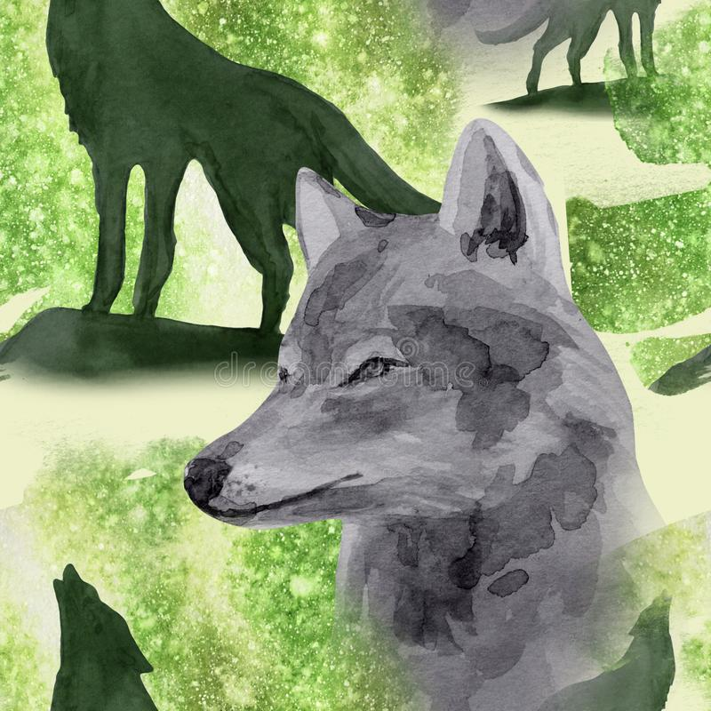Hand drawn watercolor seamless pattern wolf in night forest. Hand drawn watercolor seamless pattern with wolf in forest stock image