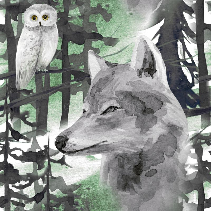 Hand drawn watercolor seamless pattern with wolf and owl in forest. Winter watercolor seamless pattern with wolf and owl in forest stock illustration
