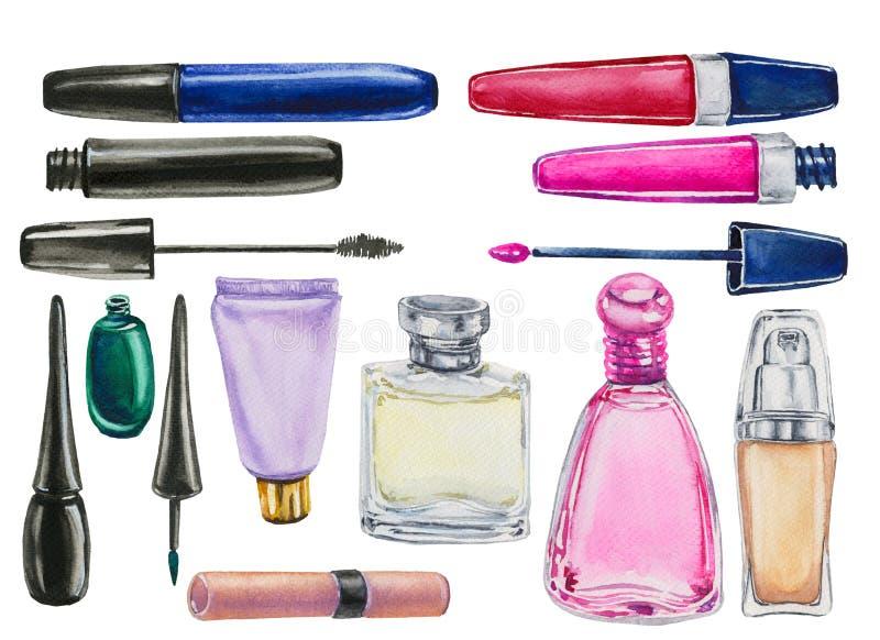 Watercolor set of cosmetics. Hand-drawn watercolor set of cosmetics isolated on white background royalty free illustration