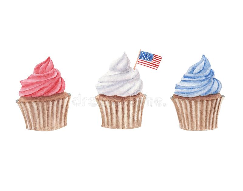 Watercolor multicolor set of cupcakes royalty free stock photo