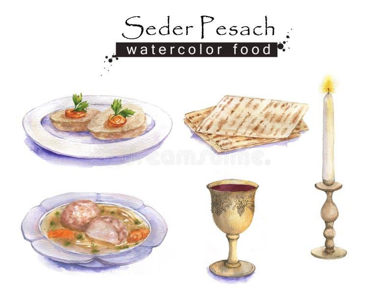 Jewish food. Hand drawn watercolor set of holiday Jewish food. Seder Pesach dishes: gefilte fish, matzah, wine, matzo balls soup. Passover dinner stock illustration