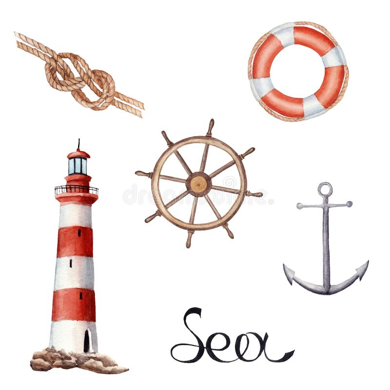 Hand drawn watercolor set with lighthouse, knot, vessel parts isolated stock illustration