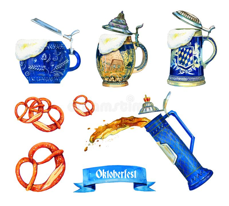Hand drawn watercolor set for oktoberfest with different bavarian beer ceramic mugs, brezels ang flag. Isolated on white background stock illustration