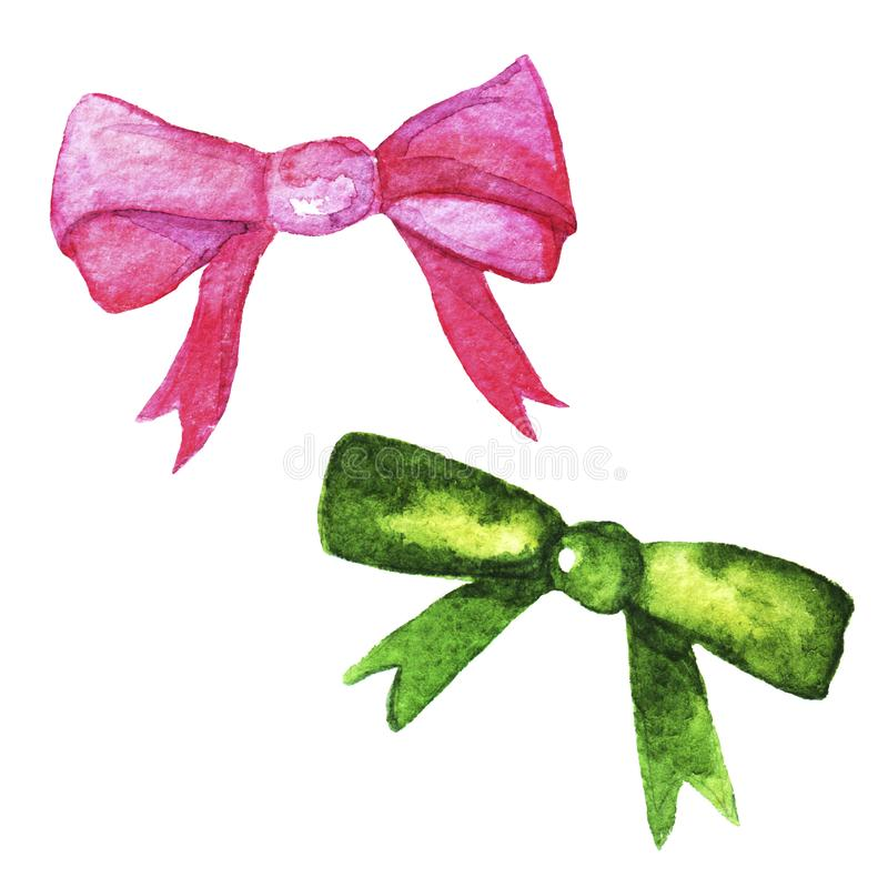 Hand drawn watercolor set of pink , green bows and ribbons of different shapes. stock images