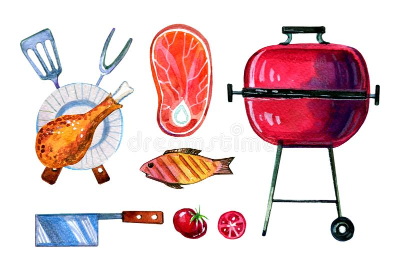 Hand drawn watercolor set of various objects for picnic, summer eating out, grill and barbecue. On white background stock illustration