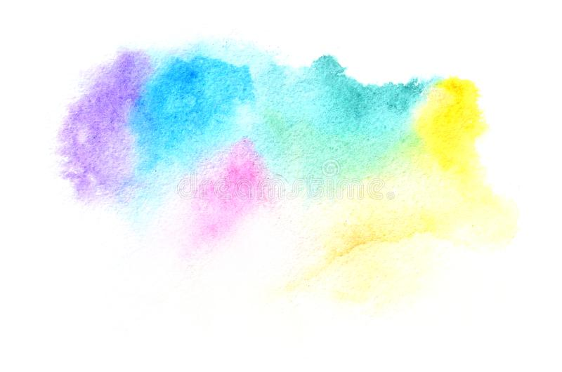 Hand drawn watercolor shape in cold tones for your design. Creative painted background, hand made decoration stock photography
