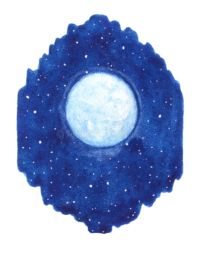 Hand drawn watercolor shining moon with stars on the night sky. Illustration in the shape of paint stain royalty free illustration