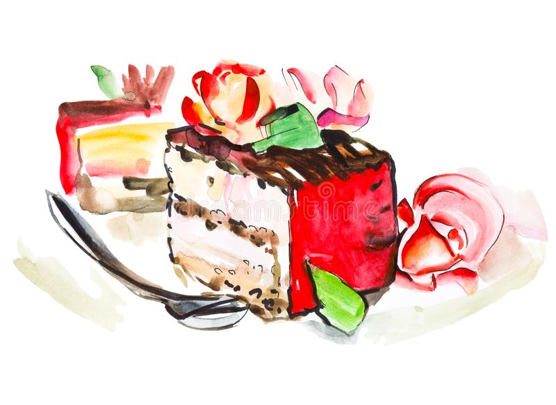 Hand drawn watercolor slice of creamy pie with flowers, isolated cake illustration on white background. Hand drawn watercolor slice of creamy pie with flowers stock illustration