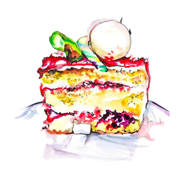 Hand drawn watercolor slice of creamy pie with flowers, isolated cake illustration on white background. Slice of creamy pie with icecream ball, Hand drawn royalty free illustration