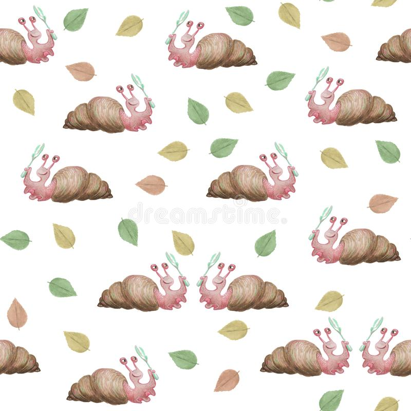 Hand-drawn watercolor snails, looking through a magnifier at foliage.Seamless pattern. royalty free illustration