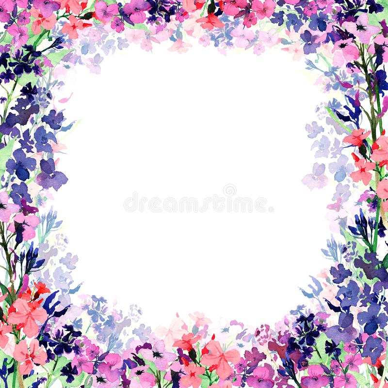 Hand drawn watercolor square frame with meadow small pink, blue and violet flowers and translucent flower layer on white royalty free illustration
