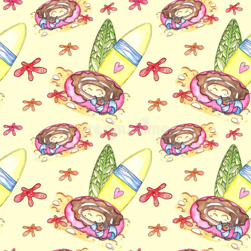 Hand drawn watercolor summer seamless pattern royalty free illustration