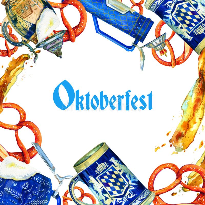 Hand drawn watercolor template illustration for oktoberfest with title, bavarian beer ceramic mugs, brezels and beer splash. On white background stock illustration