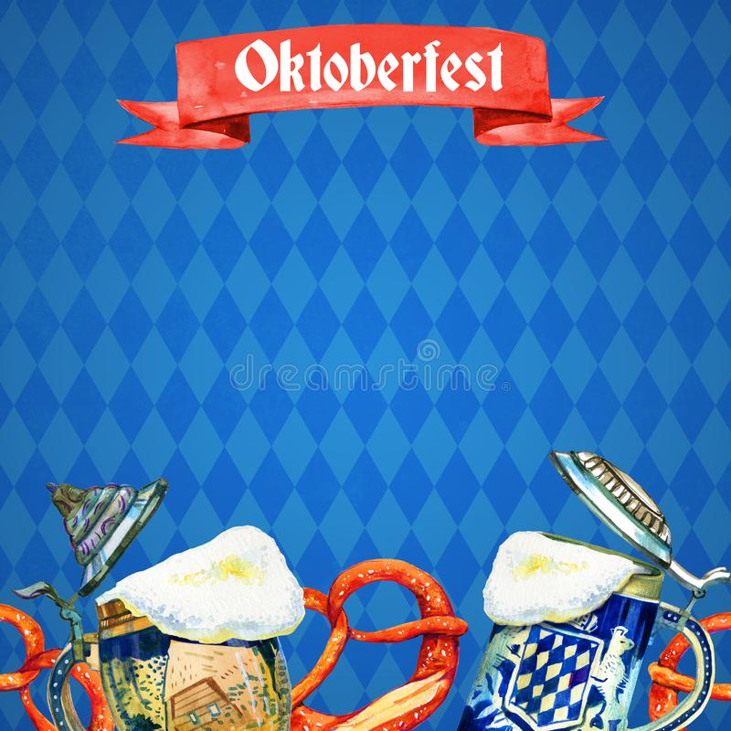Hand drawn watercolor template for oktoberfest with bavarian beer ceramic mugs and brezels. On bavarian flag royalty free illustration