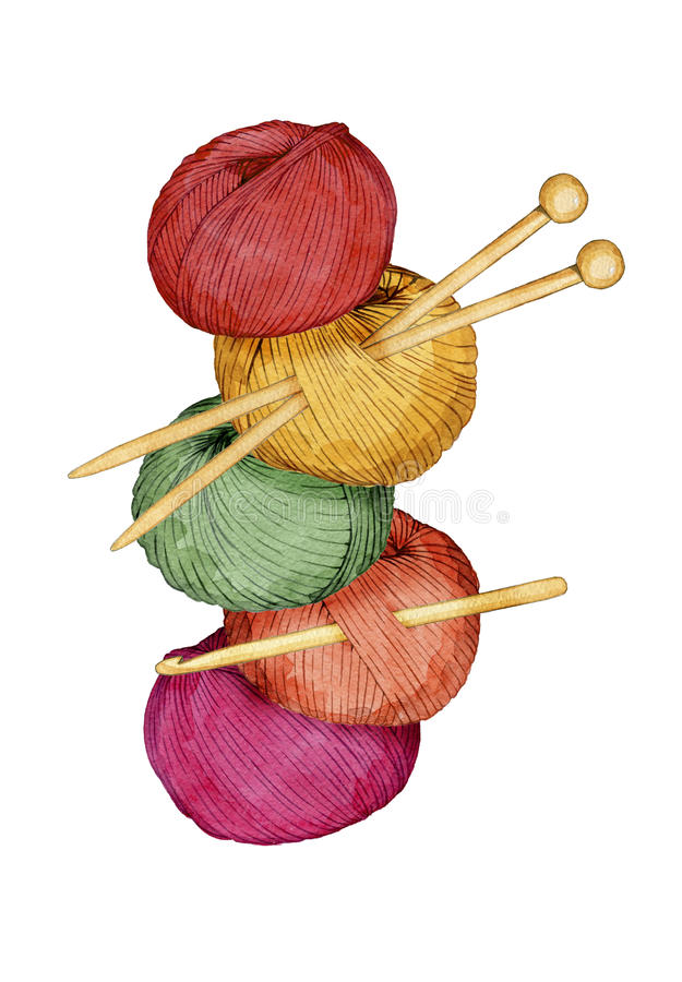 Hand drawn watercolor tower of colorful balls of yarn with knitting needles and crochet hook vector illustration