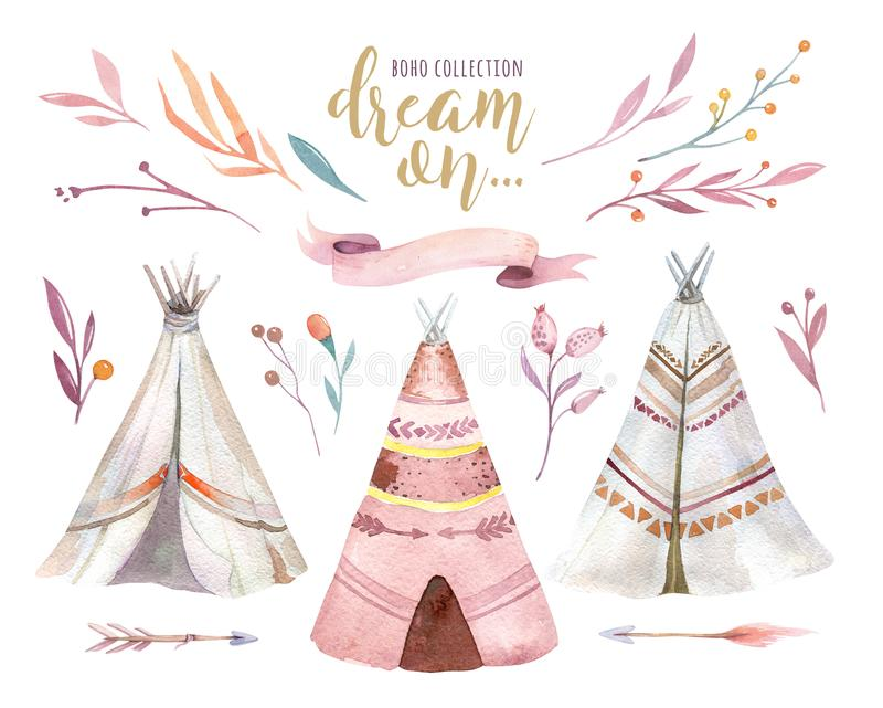 Hand drawn watercolor tribal teepee, isolated campsite tent. Boho America traditional native ornament wigwam. Indian. Hand drawn watercolor tribal teepee stock illustration