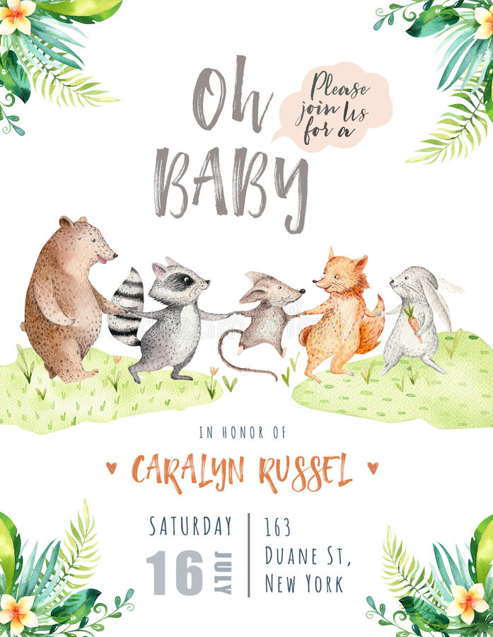 Hand drawn watercolor tropical animals. Boho nursery raccon, mouse, fox, rabbit, bunny, bear illustrations, jungle tree stock illustration