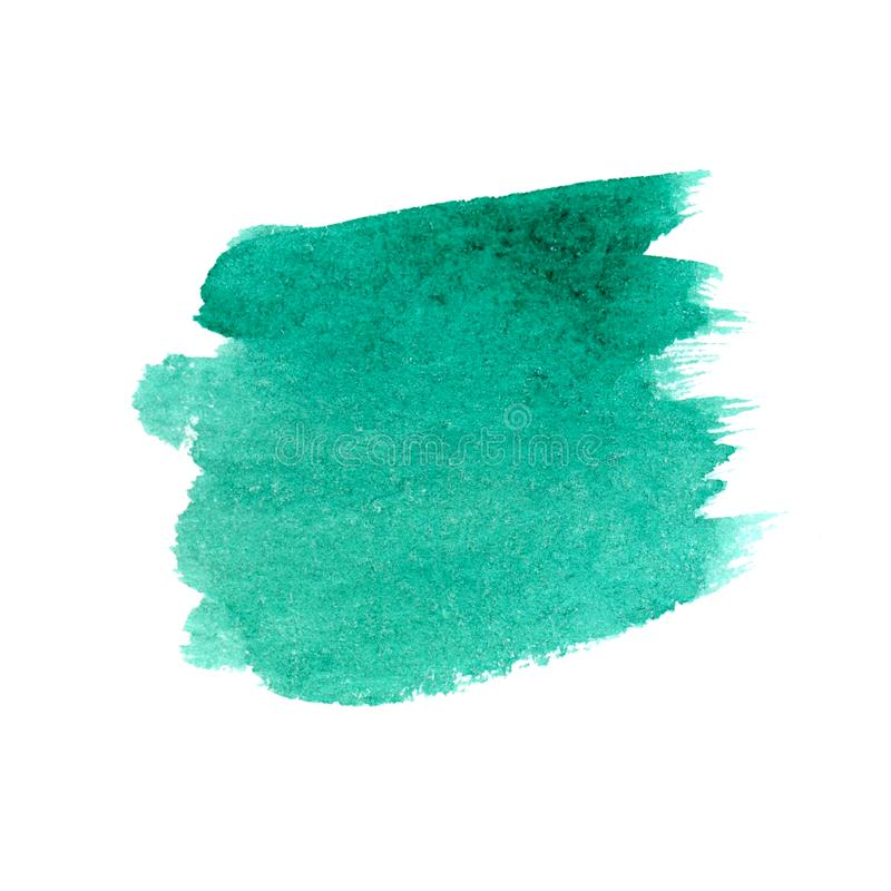 Hand drawn watercolor turquoise stroke stock photo