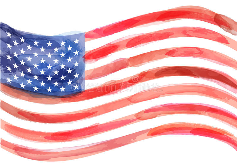Hand-drawn watercolor vector flag of America on white background. royalty free illustration