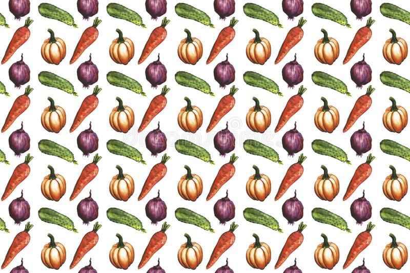 Hand drawn Watercolor vegetable seamless pattern background. Carrot, cucumber, tomato, onion, pumpkin, chilie, bell peppers. stock illustration