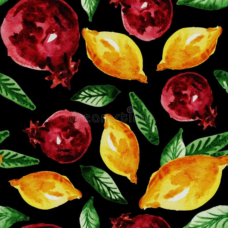 Hand drawn watercolor vintage seamless pattern of ripe pomegranate,lemon and leaves .Tropical,exotic fruit.Abstraction print of. Black background, organic vector illustration