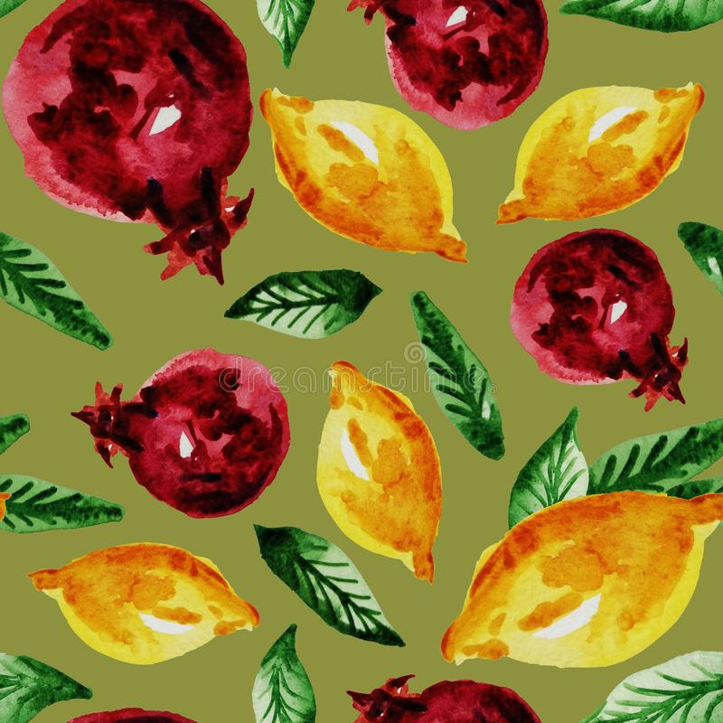 Hand drawn watercolor vintage seamless pattern of ripe pomegranate,lemon and leaves .Tropical,exotic fruit.Abstraction print of. Green background, organic vector illustration
