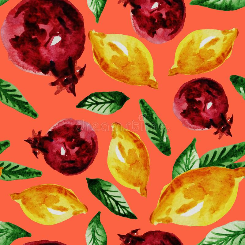 Hand drawn watercolor vintage seamless pattern of ripe pomegranate,lemon and leaves .Tropical,exotic fruit.Abstraction print of. Pink background, organic vector illustration