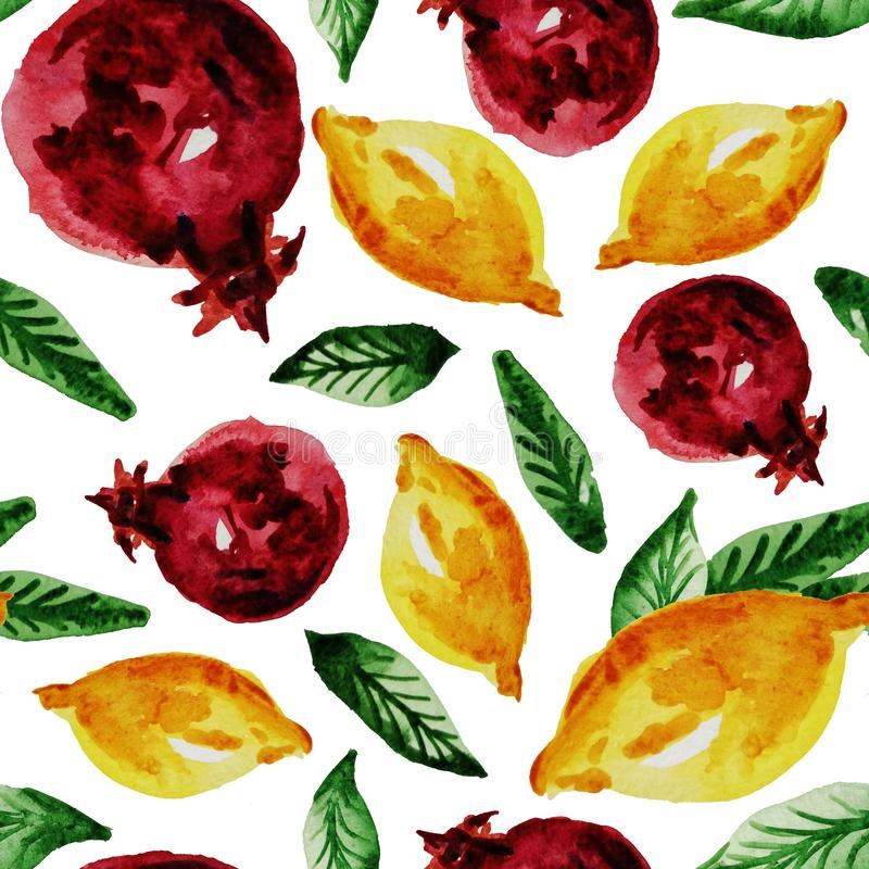 Hand drawn watercolor vintage seamless pattern of ripe pomegranate,lemon and leaves .Tropical,exotic fruit.Abstraction print of. White background, organic royalty free illustration
