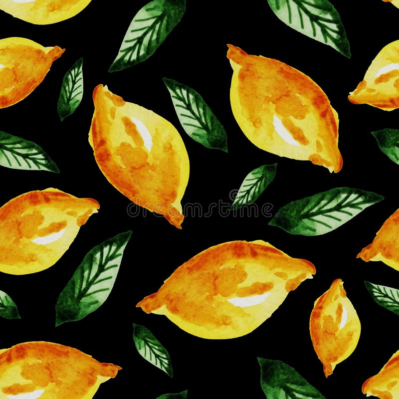 Hand drawn watercolor vintage seamless pattern of ripe yellow lemon and leaves .Tropical,exotic fruit.Abstraction print of black. Background, citric, vitamin royalty free illustration