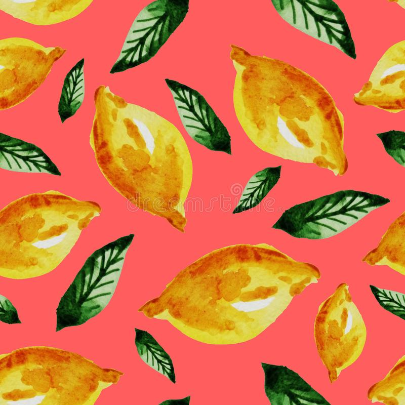 Hand drawn watercolor vintage seamless pattern of ripe yellow lemon and leaves .Tropical,exotic fruit.Abstraction print of pink. Background, citric, vitamin stock illustration