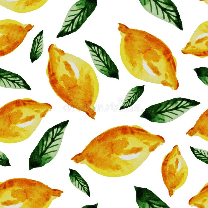 Hand drawn watercolor vintage seamless pattern of ripe yellow lemon and leaves .Tropical,exotic fruit.Abstraction print of white. Background, citric, vitamin royalty free illustration