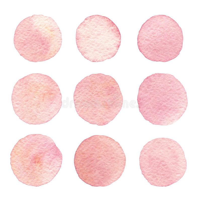 Hand drawn watercolor vintage texture circles isolated set. royalty free stock photo