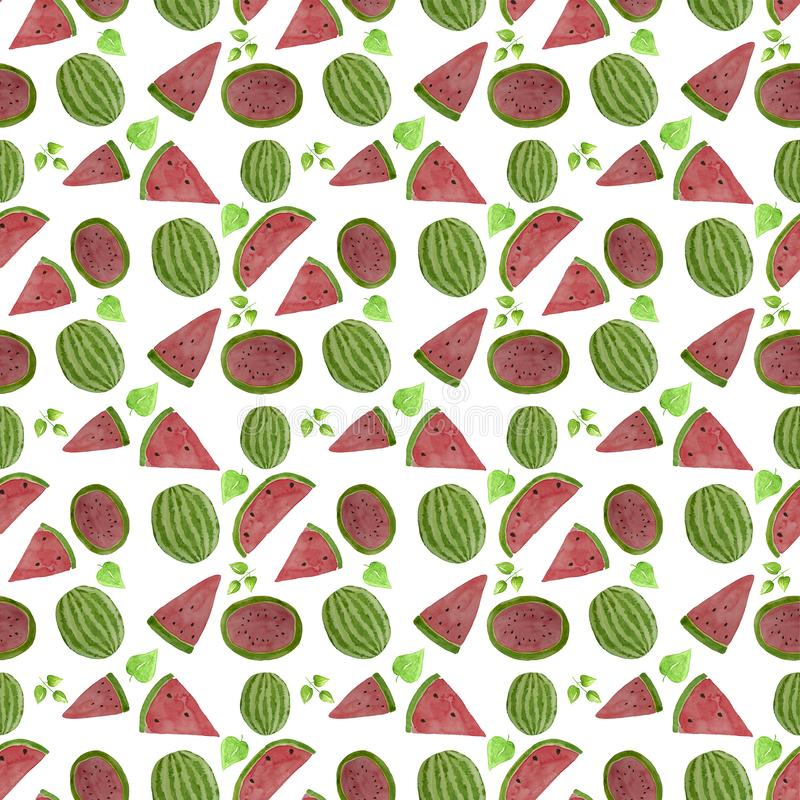 Hand drawn watercolor watermelon pattern. Summer illustration. Watermelon design element, template for summer background. Hand drawn watercolor watermelon slice royalty free stock images