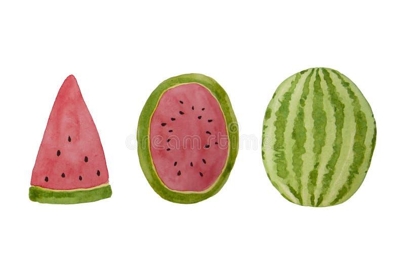 Hand drawn watercolor watermelon slice. Summer illustration. Watermelon design element, template for summer background. Hand drawn watercolor watermelon slice royalty free illustration