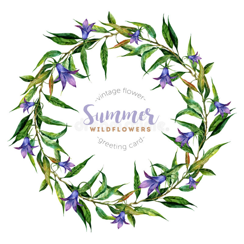 Hand drawn watercolor wildflower wreath royalty free illustration