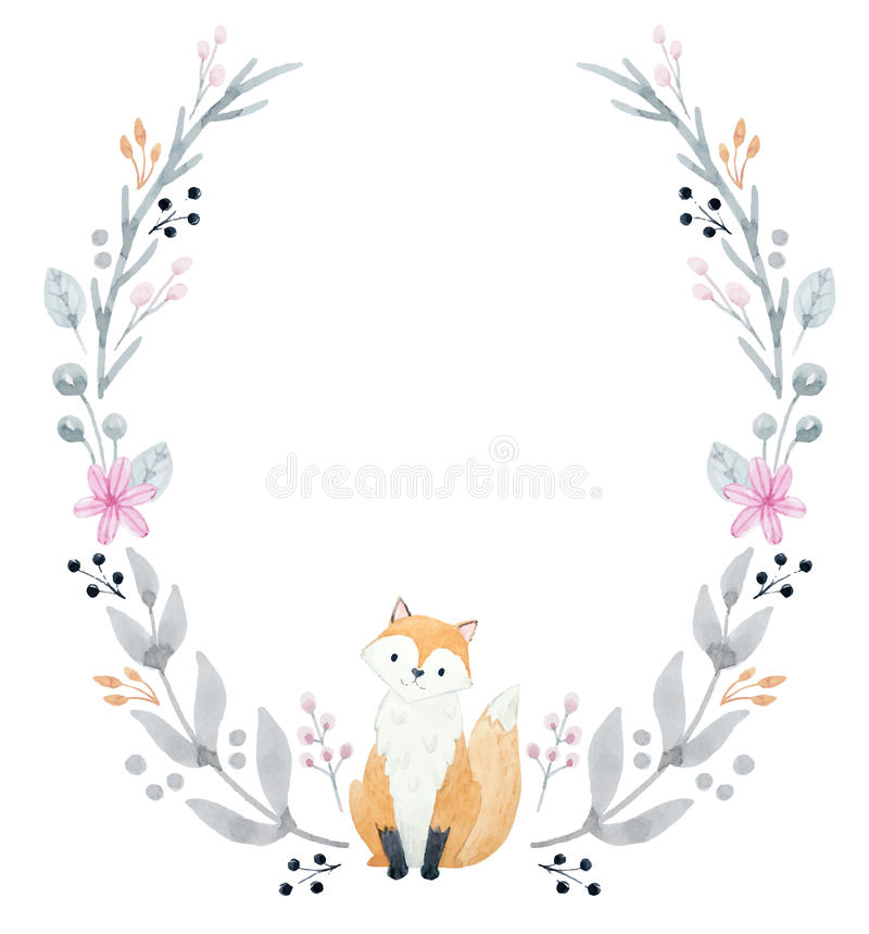 Hand drawn watercolor wreath vector illustration